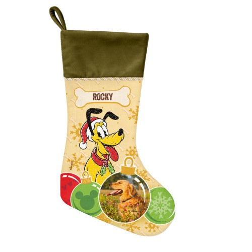 Disney Pluto Ornament Christmas Stocking, Moss Green, Yellow