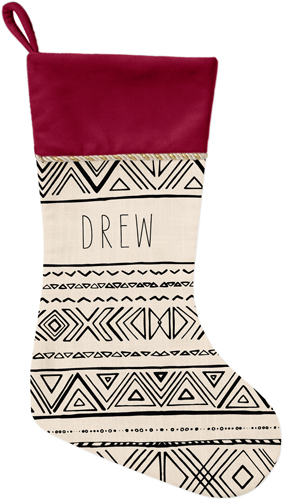 Chinle Christmas Stocking, Cranberry, Beige