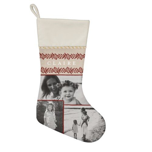Foliage Border Christmas Stocking, Natural, Beige