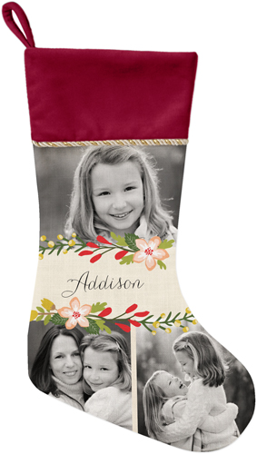Floral Frame Christmas Stocking, Cranberry, White