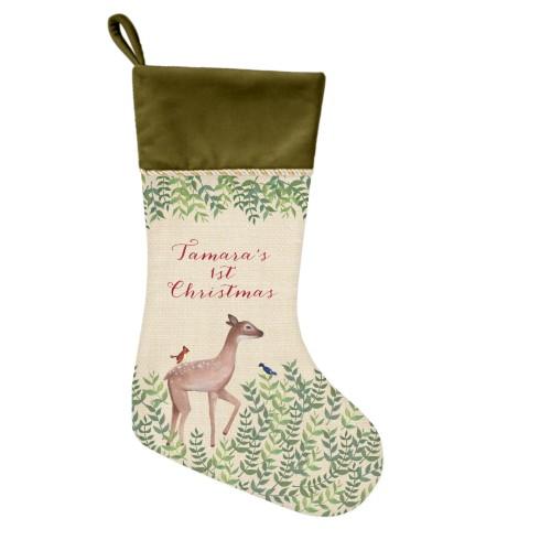 Whimsy Deer Christmas Stocking, Moss Green, Beige