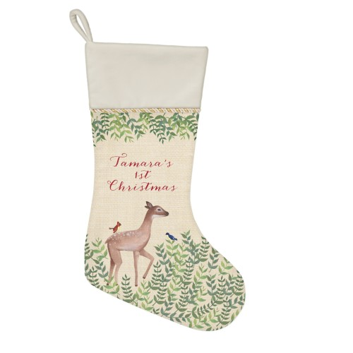 Whimsy Deer Christmas Stocking, Natural, Beige