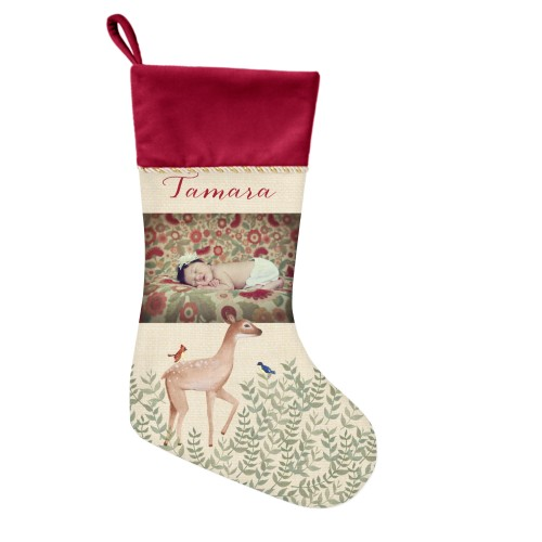 Whimsy Deer Picture Christmas Stocking, Cranberry, Beige