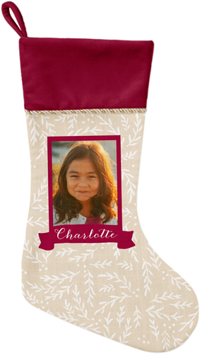 Foliage Banner Christmas Stocking, Cranberry, Red
