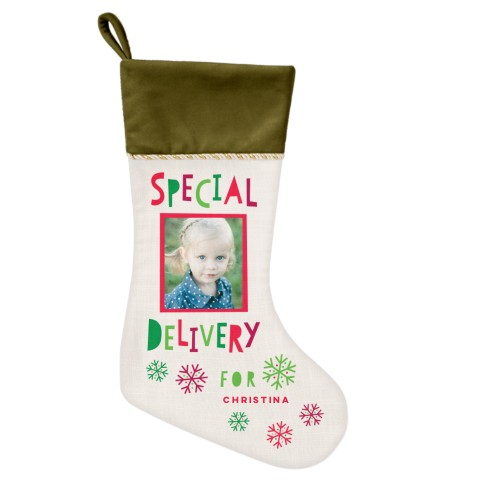 Special Delivery Christmas Stocking, Moss Green, Beige