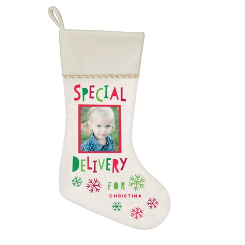 Special Delivery Christmas Stocking, Natural, Beige