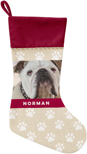Paw Print Christmas Stocking, Cranberry, Beige