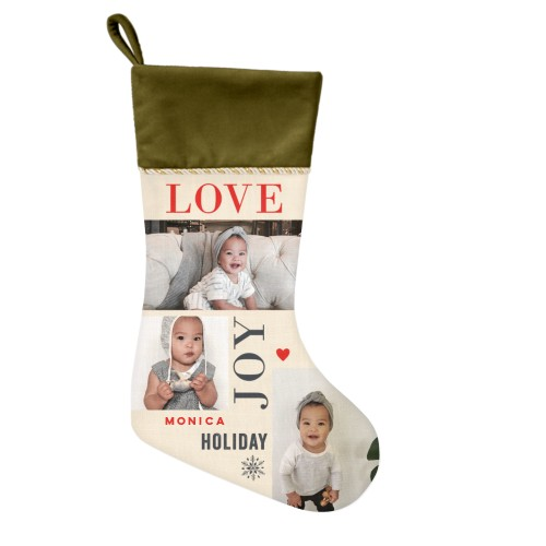Love Joy Holiday Christmas Stocking, Moss Green, Beige
