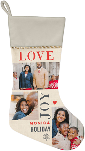 Love Joy Holiday Christmas Stocking, Natural, Beige