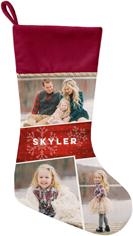 snowflake photo collage christmas stocking
