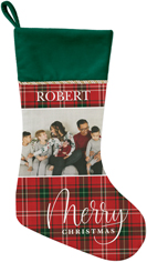 merry christmas plaid christmas stocking