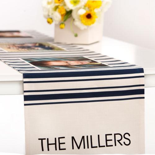 Ticking Stripes Table Runner, 90 x 14, Blue