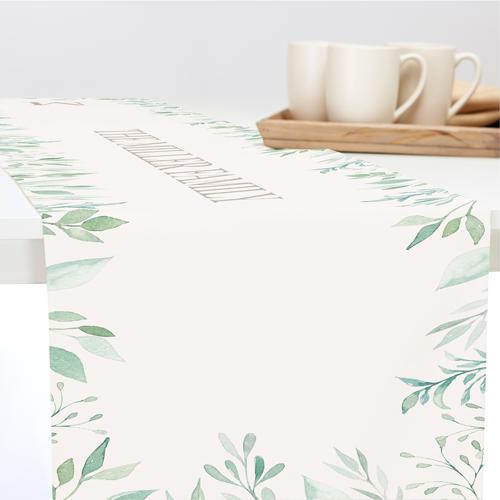 Foliage Border Table Runner, 90 x 14, Beige