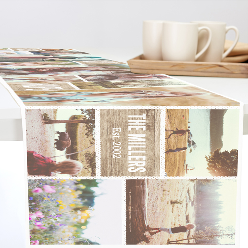 Textured Collage Table Runner, 90 x 14, Brown