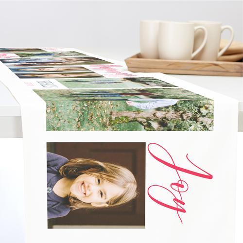 Family Sentiment Collage Table Runner, 108 x 16, White