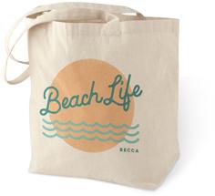 beach life cotton tote bag