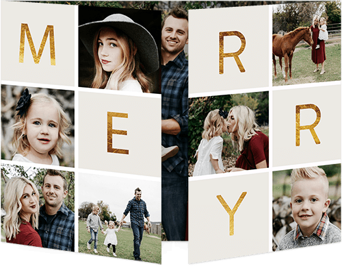 Merry Frames Holiday Card, Square Corners