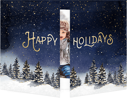 Winter Nighttime Holiday Card, Square Corners
