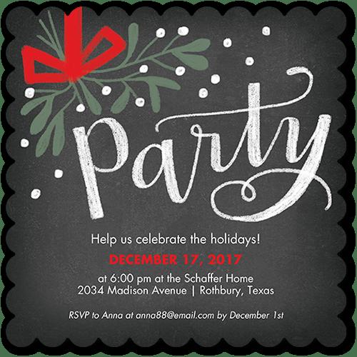 Cheery Mistletoe Holiday Invitation, Square