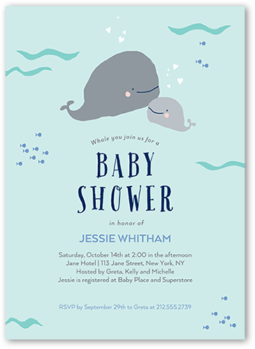 ... Whale Baby Shower Invitation. Visible Part Transiotion Part. FRONT
