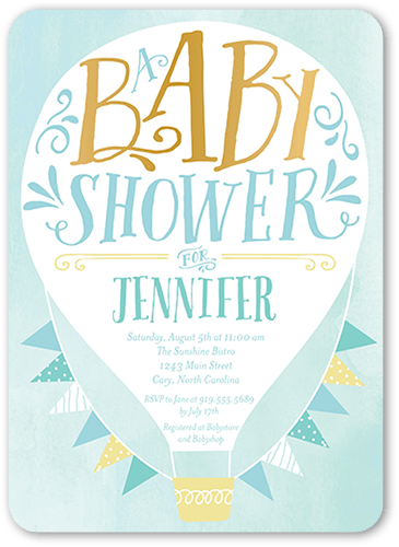 Hot Air Balloon Boy Baby Shower Invitation