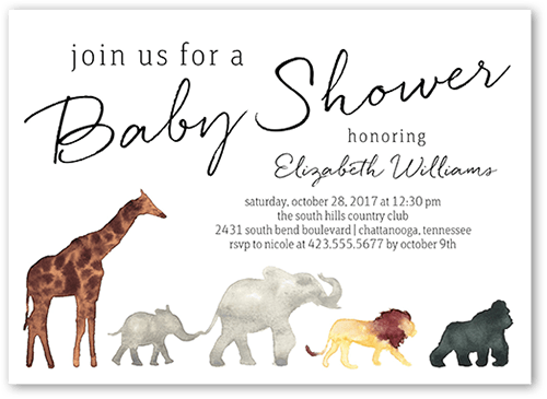Fall In Line Baby Shower Invitation, Square Corners