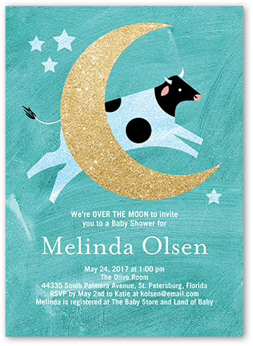 Radiant Moon Baby Shower Invitation, Square Corners