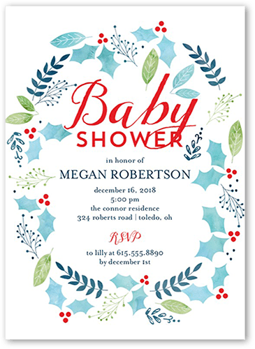 Wintry Holly Baby Shower Invitation, Square Corners