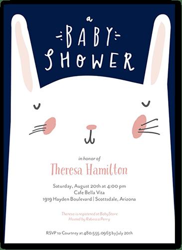 Bashful Bunny Baby Shower Invitation, Square Corners