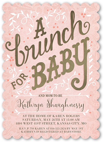 Brunch For Baby Girl Baby Shower Invitation, Scallop Corners