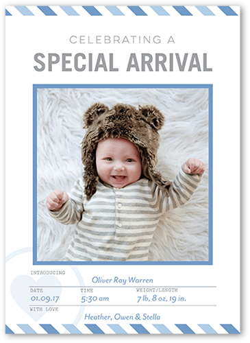 Special Arrival Boy Birth Announcement, Square Corners