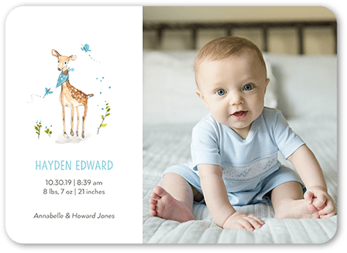 Cute Deer Boy Birth Announcement, Rounded Corners