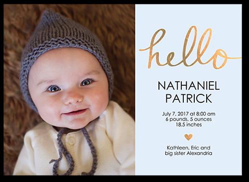 Hello Love Baby Boy Birth Announcement
