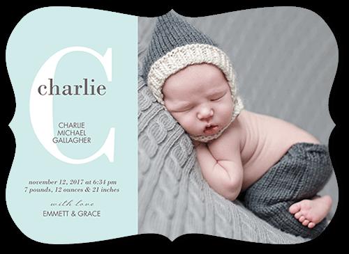 Baby Monogram Boy Birth Announcement, Bracket Corners