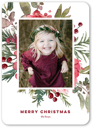 Fragrant Frame Holiday Card, Rounded Corners