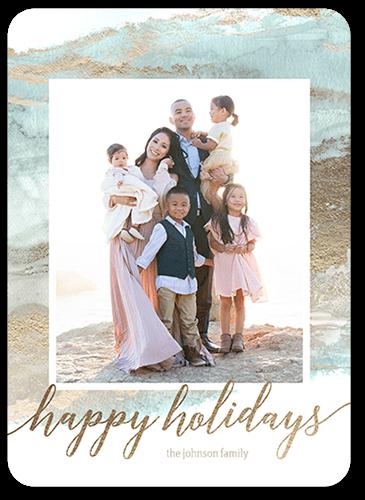 Sea Wash Celebration Holiday Card, Rounded Corners