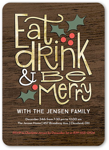 Eat Drink Merry Holiday Invitation, Rounded Corners
