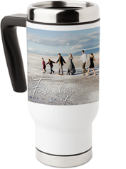 scripted family collage travel mug with handle