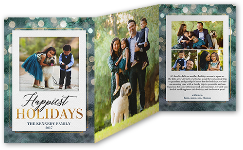 Bokeh Seasonal Greeting Holiday Card, Square
