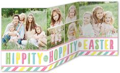 hippity hoppity stripes easter card 5x7 trifold