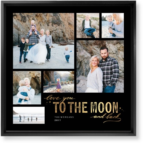 To The Moon and Back Script Mounted Wall Art, Single piece, Black, 16 x 16 inches, Black