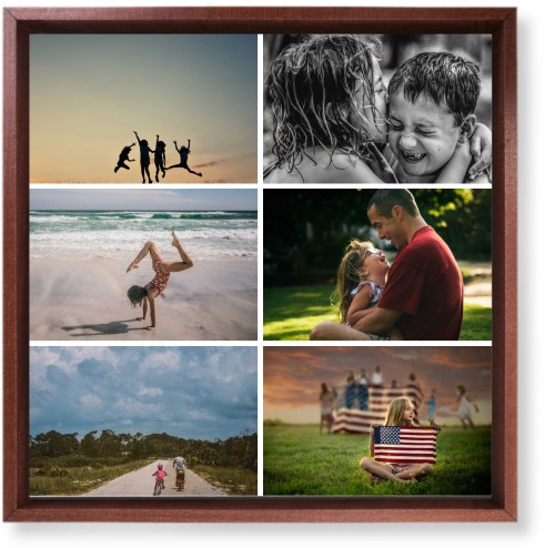 Gallery of Six Mounted Wall Art, Single piece, Brown, 12 x 12 inches, Multicolor
