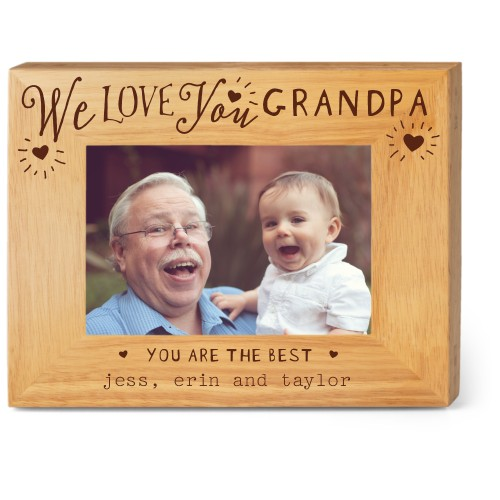Hearts Full Grandpa Wood Frame, - No photo insert, 9x7 Engraved Wood Frame, White