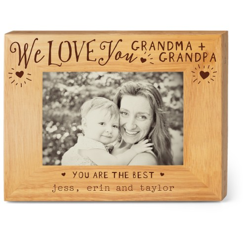 Hearts Full Grandparents Wood Frame, - Photo insert, 9x7 Engraved Wood Frame, White