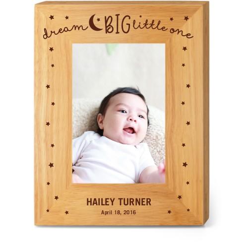 Dream Big Wood Frame, - Photo insert, 7x9 Engraved Wood Frame, White