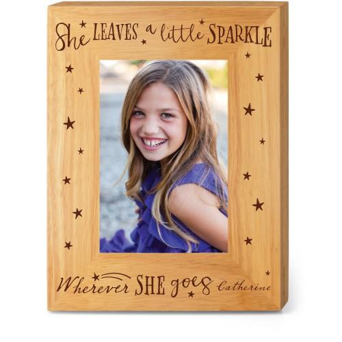 She Sparkles Wood Frame, - Photo insert, 7x9 Engraved Wood Frame, White