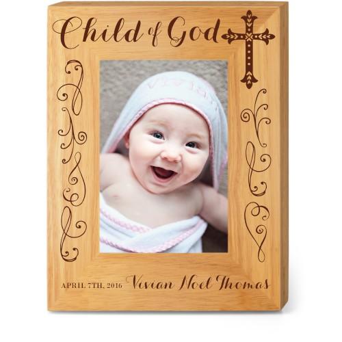 Child of God Wood Frame, - Photo insert, 7x9 Engraved Wood Frame, White