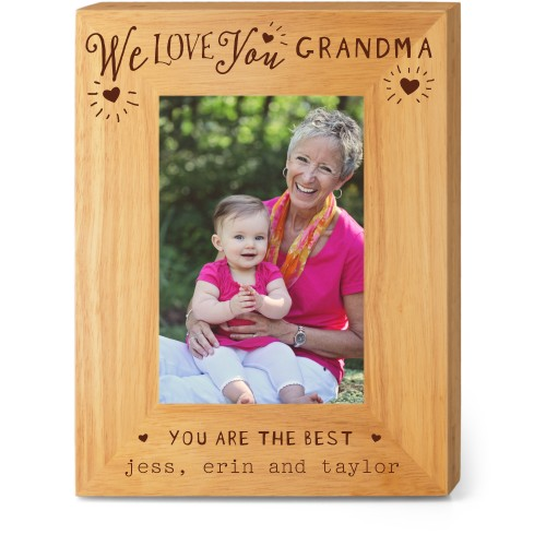 Hearts Full Grandma Wood Frame, - Photo insert, 7x9 Engraved Wood Frame, White