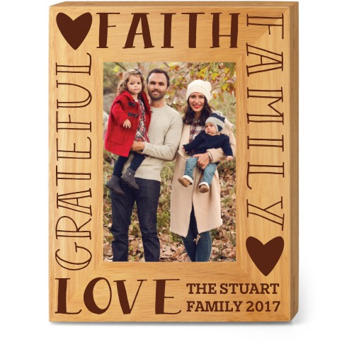 Family Sentiment Wood Frame, - Photo insert, 7x9 Engraved Wood Frame, White