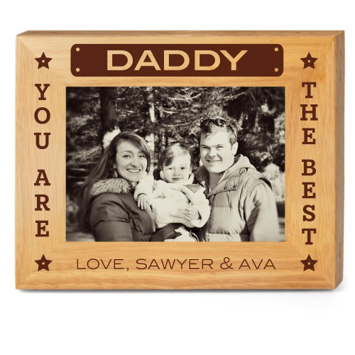 Best Daddy Wood Frame, - No photo insert, 10x8 Engraved Wood Frame, White